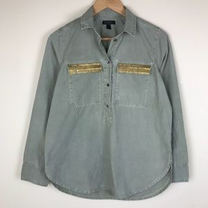J. Crew Green Beaded Button Up Military Shirt
